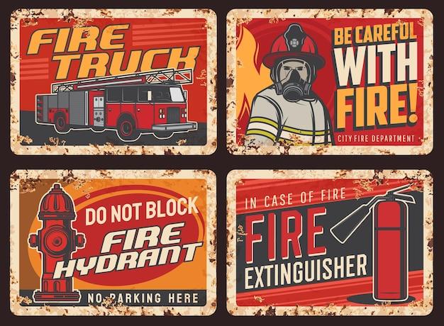 Sinal de alerta de segurança contra incêndio, placa de metal enferrujada com caminhão de bombeiros