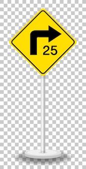 Sinal de alerta de trânsito amarelo em fundo transparente