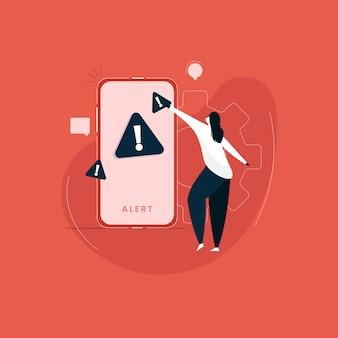 Sinal de alerta na tela do smartphone, garota de pé com lembrete importante