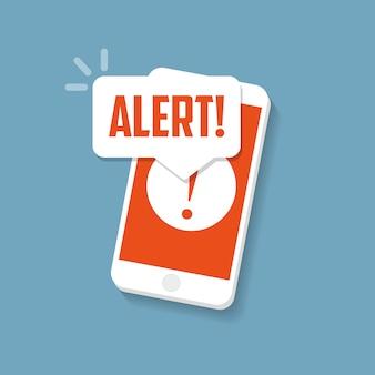 Sinal de alerta na tela do smartphone
