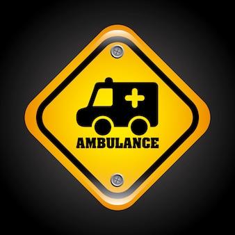 Sinal de ambulância sobre ilustração vetorial de fundo preto