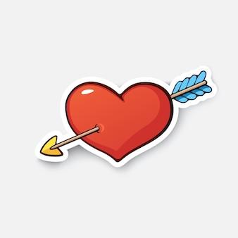 Sinal de amor de coração e flecha símbolo do dia dos namorados adesivo de desenho animado em estilo cômico.