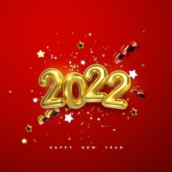 Sinal de ano novo de 2022 número dourado e estrelas festivas de confete e fitas em espiral sobre fundo vermelho