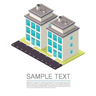 Sinal de arte de casa de estrada isométrica. ilustração vetorial
