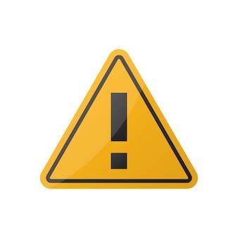 Sinal de atenção de aviso de perigo em branco