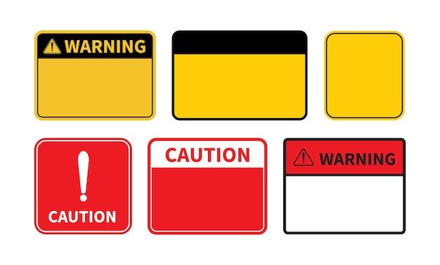Sinal de aviso conjunto de sinal de aviso em branco sobre fundo branco modelo com espaço para texto