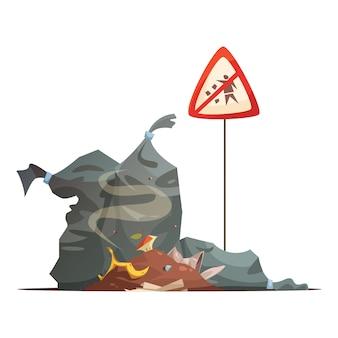 Sinal de aviso de lixo impróprio e eliminação de resíduos para evitar as ruas da cidade jogando lixo ilustração em vetor cartaz dos desenhos animados