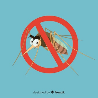 Sinal de aviso de mosquito com design plano