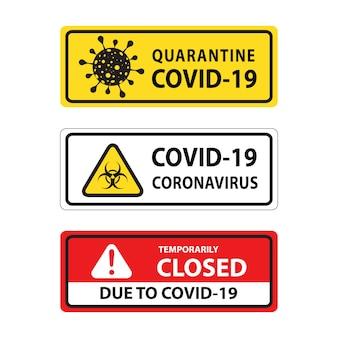 Sinal de aviso de vírus corona