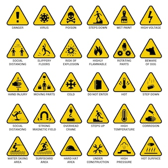 Sinal de aviso do triângulo. coleção de vetores de perigo elétrico de emergência de símbolos de perigo. ilustração de ícone de cuidado amarelo, distanciamento social e inflamável