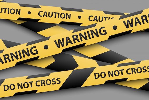 Sinal de aviso, fitas listradas amarelas e pretas