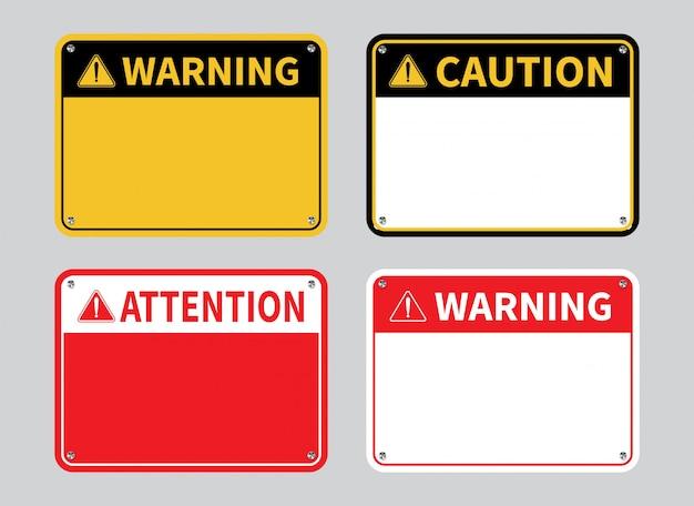 Sinal de aviso. sinal de atenção em branco.