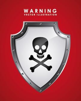 Sinal de aviso sobre vermelho