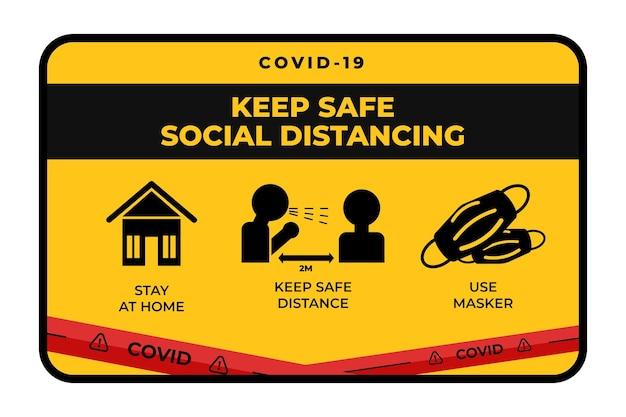 Sinal de banner de distância social
