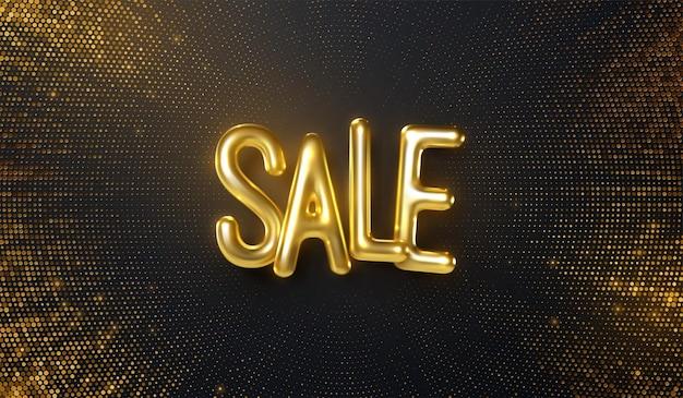 Sinal de banner de venda com letras douradas em fundo preto com brilhos explosivos