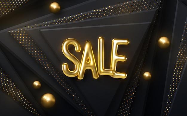 Sinal de banner de venda com letras douradas em fundo preto recortado com brilhos e esferas