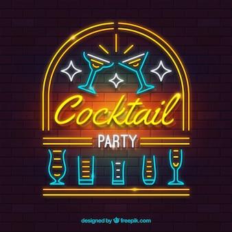 Sinal de bar de cocktails com estilo de luz de néon