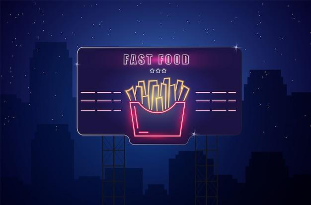 Sinal de batatas fritas de néon