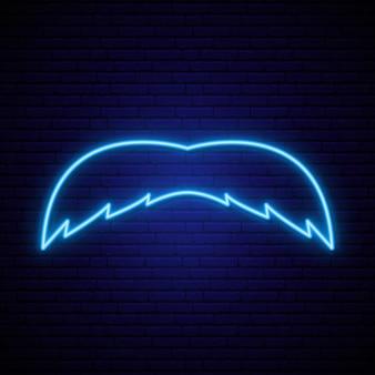 Sinal de bigode de néon azul.