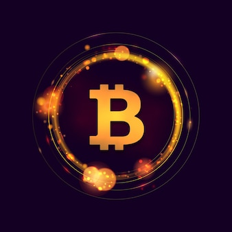 Sinal de bitcoin dentro de luzes abstratas de bokeh