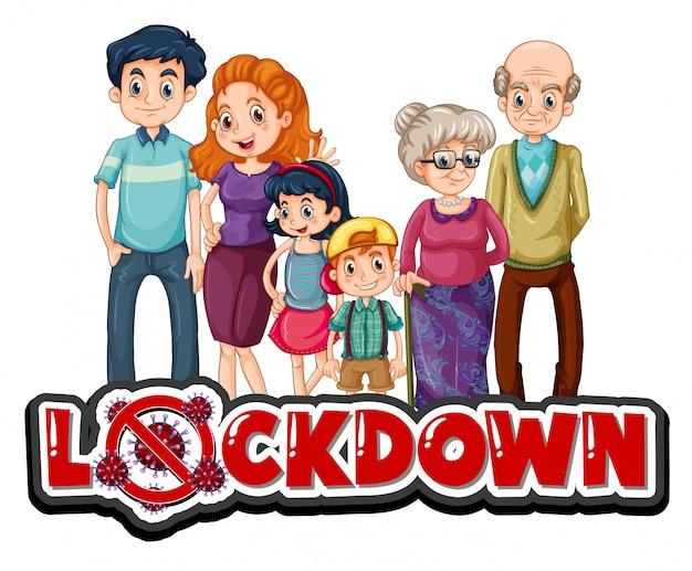Sinal de bloqueio com a família feliz