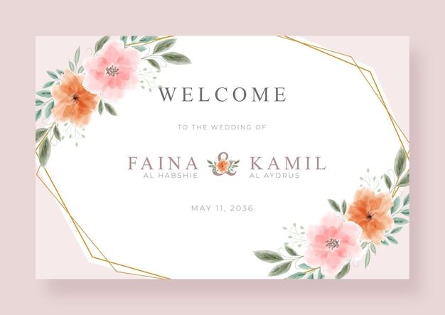 Sinal de boas-vindas de casamento lindo e elegante