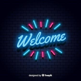 Sinal de boas-vindas moderno post com estilo de luz de néon