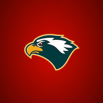 Sinal de cabeça de águia. elemento para o logotipo da equipe de esporte, emblema, distintivo, mascote. ilustração