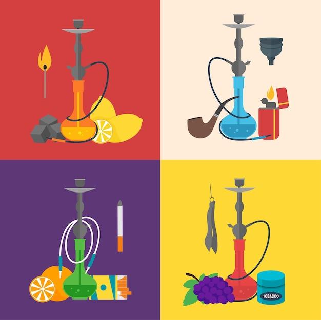Sinal de cachimbo de água definir cultura árabe. tradição de fumaça