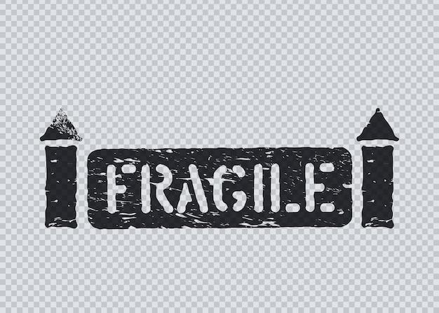 Sinal de caixa de carga frágil do grunge com setas em fundo transparente para logística. signifique desta forma, manuseie com cuidado. ilustração vetorial grunge