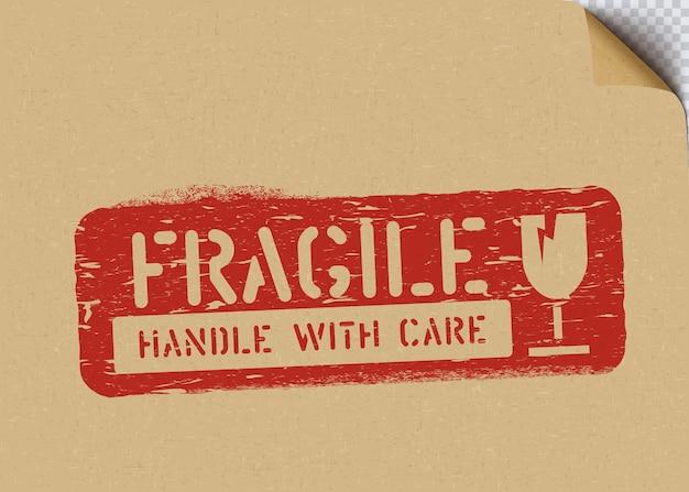 Sinal de caixa frágil grunge em papel artesanal para logística ou carga