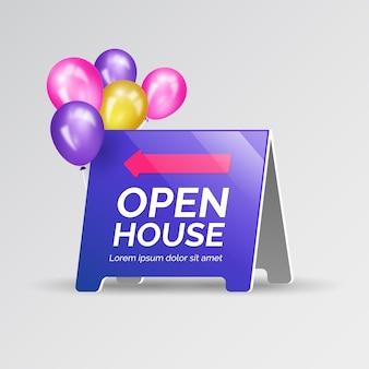 Sinal de casa aberta azul com balões coloridos