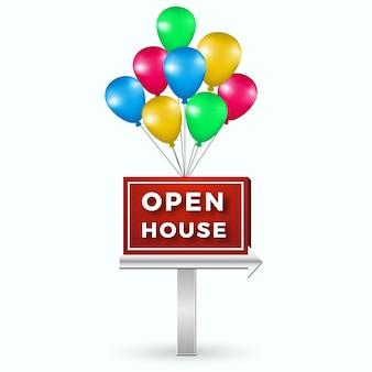 Sinal de casa aberta com balões coloridos