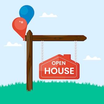 Sinal de casa aberta com balões
