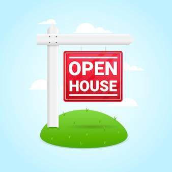 Sinal de casa aberta com grama