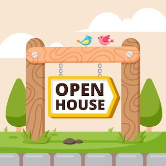Sinal de casa aberta de design plano