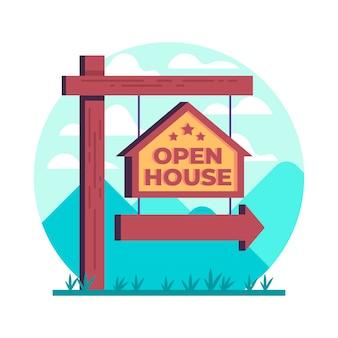 Sinal de casa aberta de imóveis