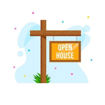 Sinal de casa aberta e pontos coloridos