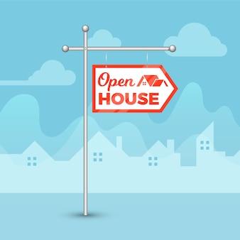 Sinal de casa aberta e silhuetas de casas