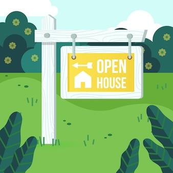 Sinal de casa aberta para venda