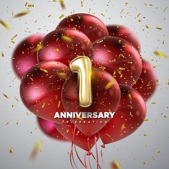 Sinal de celebração do primeiro aniversário com número 1 dourado e balões vermelhos