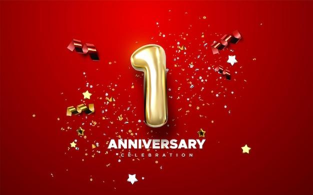 Sinal de celebração do primeiro aniversário com número dourado 1 e confete