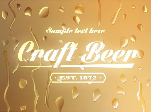 Sinal de cerveja artesanal em fundo desfocado com gotas de água. ilustração vetorial