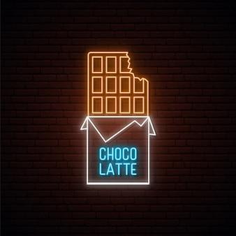 Sinal de chocolate neon.