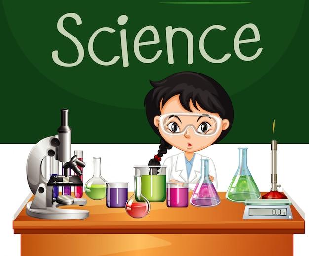 Sinal de ciência com equipamento e estudante de ciências