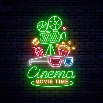 Sinal de cinema de néon brilhante