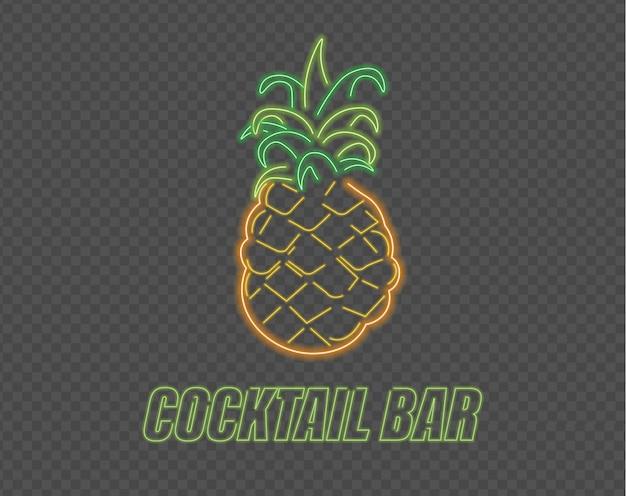 Sinal de cocktail de abacaxi néon