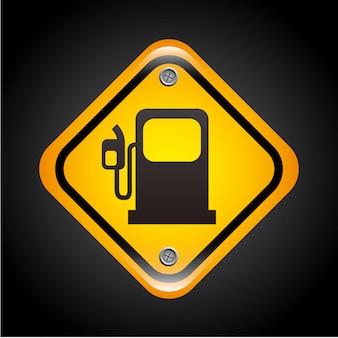 Sinal de combustível sobre ilustração vetorial de fundo preto