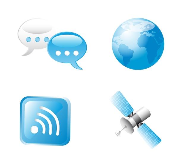 Sinal de comunicação azul sobre ilustração vetorial de fundo branco