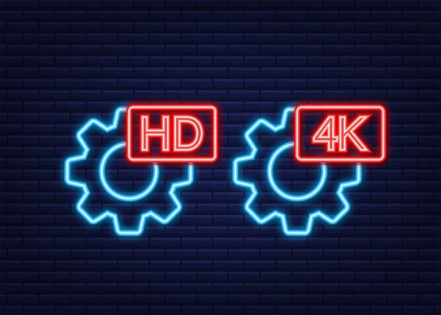 Sinal de configurações de vídeo hd e 4k. ícone de néon. ilustração em vetor das ações.